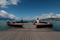 Plataforma Sur Mer no lago Genebra imagens de stock royalty free