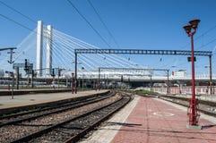 Plataforma vacía en un ferrocarril durante una huelga Imágenes de archivo libres de regalías