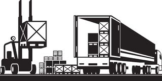 Plataformas del cargamento de la carretilla elevadora en un camión libre illustration