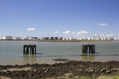 Plataformas na angra de Holehaven, Canvey Island, Essex, Inglaterra Imagens de Stock Royalty Free