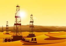 Plataformas petrolíferas do whith da paisagem no deserto estéril ilustração royalty free