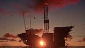 Plataformas petrolíferas no oceano video estoque