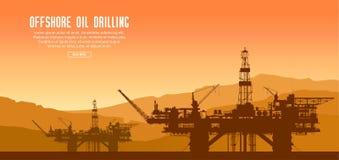 Plataformas petrolíferas a pouca distância do mar no por do sol ilustração stock