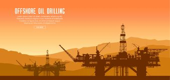 Plataformas petroleras costeras en la puesta del sol stock de ilustración