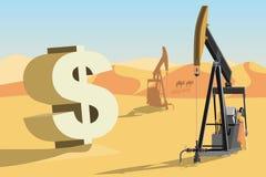 Plataformas petroleras en el desierto y el símbolo del dólar imagenes de archivo