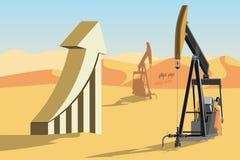 Plataformas petroleras y símbolo de los precios del petróleo de levantamiento imagen de archivo libre de regalías