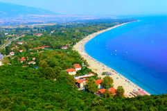 Platamon city, Greece. Aerial view of Platamon city, a town and sea-side resort in south Pieria, Central Macedonia, Greece. HDR image Royalty Free Stock Photo