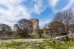 Platamon fortress against dramatic sky Stock Photos