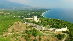 Platamon fortress. In olympic riviera, Greece stock footage
