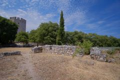 Platamon-Schloss in Griechenland lizenzfreie stockbilder