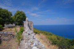 Platamon-Schloss in Griechenland stockfotos