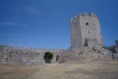 Platamon slott i Grekland Arkivbild