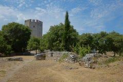 Platamon slott i Grekland Fotografering för Bildbyråer