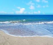 Platamona beach under a blue sky Stock Photo