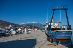 Harbor with boats and fishing schooners. Platamonas Greek is royalty free stock image
