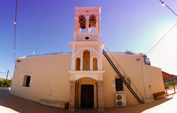 Platanias church with grad Stock Photo