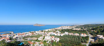 Platanias elevated panorama Royalty Free Stock Images