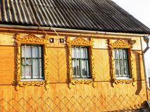 Platbands in the old village, a Russian village in the hinterland of Russia, stock photos