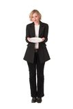 Plate. Business woman asking for food, showing an empty plate Stock Photos