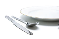 Plate. Elegant table setting with silverware and plate Royalty Free Stock Photo