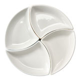 Plate. White plate folding from four parts Stock Image