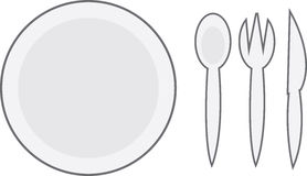 Plate. Cartoon plate with spoon, fork and knife Royalty Free Stock Photo