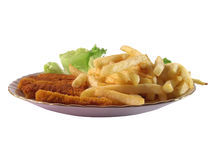 Plate. Isolated plate  with chips and fish sticks Royalty Free Stock Photography