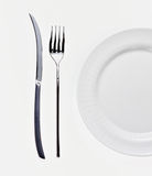 Plate. Empty plate with knife and fork Royalty Free Stock Images