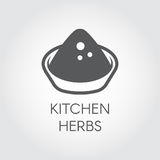 Plate with abstract herbs. Logo drawing in flat design for various projects. Vector illustration Royalty Free Stock Photography
