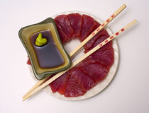 A plate of ahi, yellow fin tuna, sashimi Stock Image