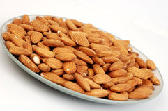 Plate of Almonds Stock Photos