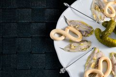 Plate of anchovies in vinegar with pickles. To share. Spanish typical recipe Royalty Free Stock Image