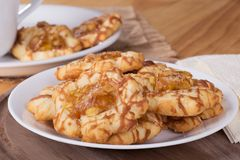 Plate of Apple Caramel Cookies Coseup Royalty Free Stock Image