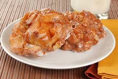 Plate of apple fritters Stock Photography