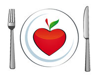 Plate with apple heart Stock Photo