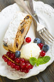 Plate with apple strudel. Stock Images