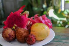 A plate with asian tropical fruits as a desert or a simple dish- dragon fruit, mango, snake fruit stock photos