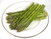 Plate of Asparagus Stock Photo