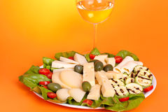 Plate With Assorted Cheese Royalty Free Stock Images
