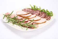 Plate of assorted cold cuts Royalty Free Stock Photo