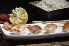 Plate of assorted sushi Royalty Free Stock Images