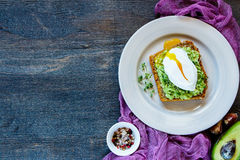 Plate with avocado sandwich Royalty Free Stock Photography