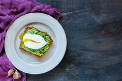 Plate with avocado sandwich Stock Image