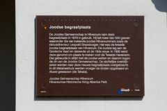 Plate with background information on the Jewish cemetery on the Vreelandseweg in Hilversum Royalty Free Stock Images
