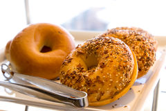 Plate of bagels for breakfast Stock Image
