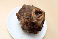 Plate with baked beef shin Stock Images