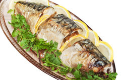 Plate with baked fish stock photos
