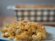 Plate of baked macaroni and cheese in front of a casserole dish stock images