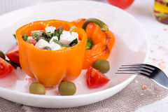 Plate with baked stuffed peppers Stock Images
