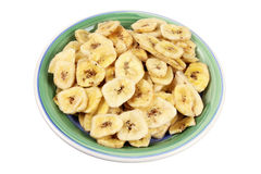 Plate of Banana Chips Stock Images